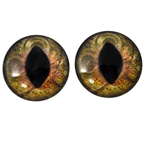 40mm Brown Steampunk Cat or Dragon Large Glass Eyes for Doll Making Jewelry Designs Scrapbooking Embellishments taxidermy Art Sculptures Costumes Cosplay and More]()