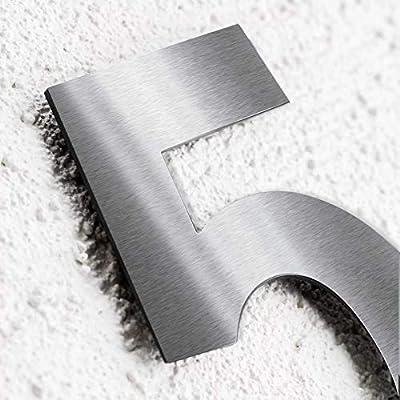 Materialst/ärke Hochwertige Edelstahl V2A HausnummerKlassisch grob geschliffen massiv /& rostfrei H/öhe 2mm 9 200mm
