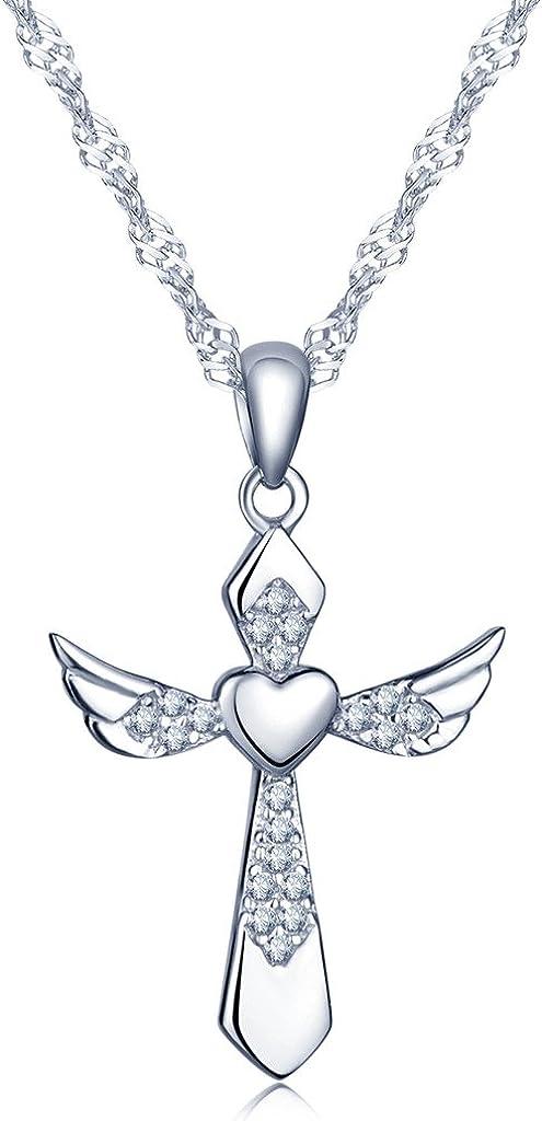 Infinito U - Collares Cruz para Mujer de Plata de Ley 925 Colgante Elegante con Diseño de Corazón, Alas de ángel y Cruz