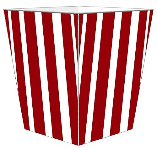 WB8417 - Red Stripe with Navy Monogram Wastepaper Basket