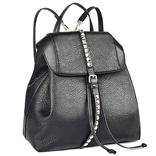 Leather Backpack, COOFIT Leather Backpack Purse Travel Backpack Schoolbag Casual Daypack for Women (Black-2)