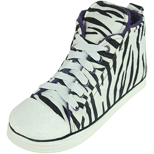 Home Slipper Womens Winter Warm Cozy Fleece High-Top Zebra Indoor Outdoor House Room Cute Fashion Sneakers Boot Slippers Shoe,US 9 (High Zebra Top Sneakers)