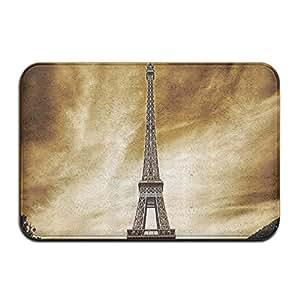 QIFAN Torre Eiffel de París Paisaje Antiguo Francia monumentos Vintage Felpudo Alfombrilla de Entrada, Bienvenido a casa Felpudo Antideslizante Lavable a máquina Tela no Tejida