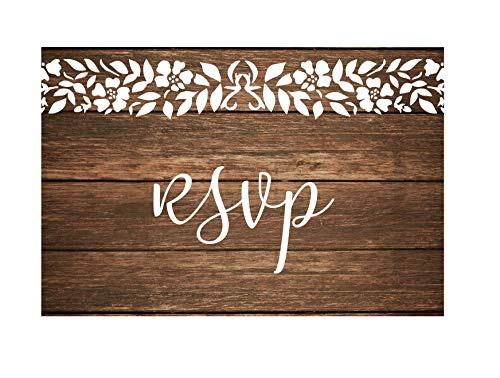 RSVP Cards for wedding Invitation 50 4x6 RSVPs Rustic Wood White Lace RSVP Postcards with No Envelopes. Paper Response Reply RSVP Post Card kit for home dinner Party invitations, bridal shower invites]()