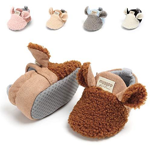 Baby Boys Girls Slipper Cozy Fleece Booties Non-Slip Bottom Winter Socks Unisex Pram Soft Sole Infant First Walker Crib House Shoes (0-6 Months M US Infant), C-Brown