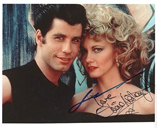 Olivia Newton-John & John Travolta REAL hand SIGNED Grease movie Photo COA