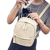 Hemlock School Backpack, Teen Girls Travel PU Leather Backpack Shoulder Schoolbags (Beige) Review