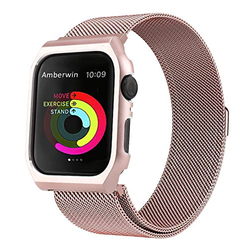 Amberwin Compatible for Apple Watch Band Milanese Loop, Stainless Steel Mesh Magnetic Replacement Wrist Band with Metal Protective Case for Apple Watch Series 4 (Rose Gold, 44mm)