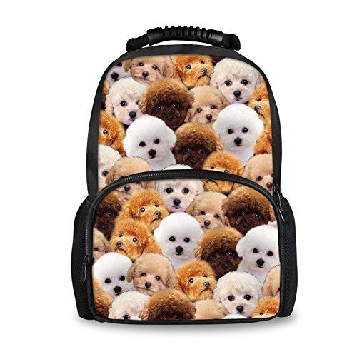 (Coloranimal Lightweight Felt Backpack Lovely Poodle Dog School Bag for Elementary Student)