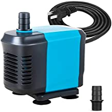 KEDSUM 550GPH Submersible Pump(2500L/H,40W), Ultra Quiet Water Pump with 5ft High Lift, Fountain Pump with 4.2ft Power Cord, 2 Nozzles for Fish Tank, Pond, Aquarium, Statuary, Hydroponics