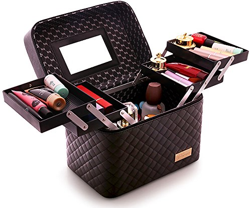 Sooyee Multifunction Travel Cosmetic Bag with Mirror, 4 Layer Drawers Foldable Tray Open to The Sides,Black Portable Train Makeup Organizer Case, Earrings and Necklace Storage Display Box