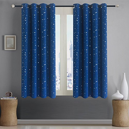 Alice Brown Romantic Starry Sky Creative Blackout Window Curtains for Kids Room/Girls Room/Boys Room Space Inspired Night Sky Twinkle Star Kid's Room Draperies W52 x L63-Inch 2 Panels Navy Blue