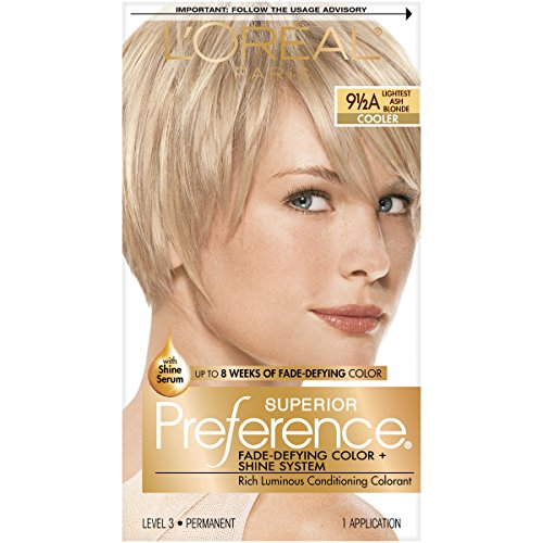 L'Oréal Paris Superior Preference Fade-Defying + Shine Permanent Hair Color, 9 1/2A Lightest Ash Blonde, 1 kit Hair Dye