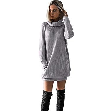 a3434b73230 Wolfleague Robe En Tricot De Femmes Manche Longue Mini Robe Pour Dames  Rouleau De Cou Robe