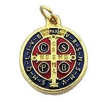 GTBITALY 60.048.21 medaglia di san benedetto smaltata a mano dorata oro con anello 2 cm