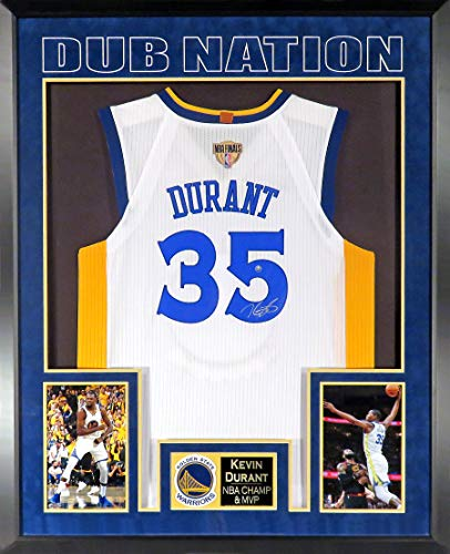 GS Warriors Kevin Durant Autographed Home White Jersey w/ 2018 NBA Finals Patch (SGA Deluxe Patch Impact Series) Framed