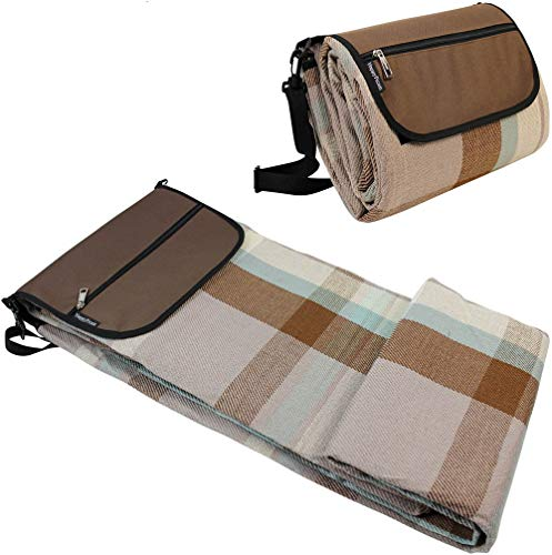 (HappyPicnic Picnic Blanket, Extra Large Beach Rug 87 Inch x 67 Inch with Waterproof Layer for Outdoor Camping, Sand Proof Mat with Adjustable Shoulder Strap-Brown)