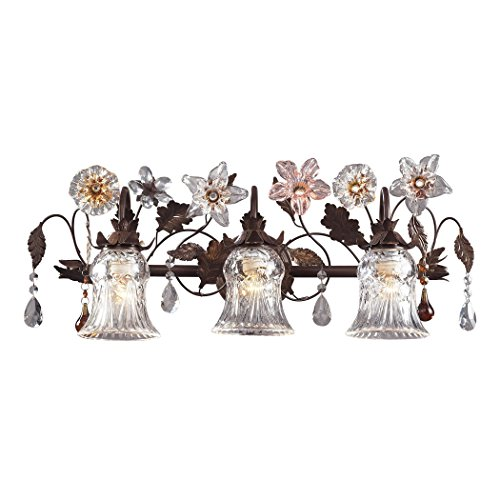 (Alumbrada Collection Cristallo Fiore 3 Light Vanity In Deep Rust With Crystal Florets )