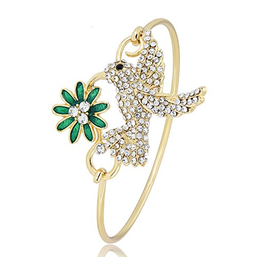 NOUMANDA Colourful Hummingbird Flower Adjustable Open Cuff Adjustable Wire Bangle Bracelet (Gold)