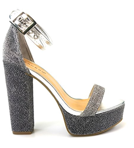 Bamboo Womens Glitter Piped Platform Ankle Strap Heels Tournament-77 Slvfab NfFFiU3