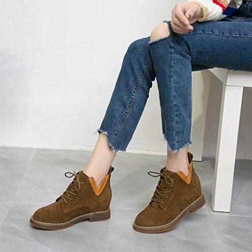 ZH Las Botas de Mujer de Otoño E Invierno Aumentaron la Falda Corta Zapatos de Estudiante de Botas de Moda Occidental Marrón claro