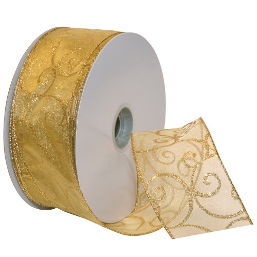 Morex Ribbon Swirl Wired Sheer Glitter Ribbon, 2-1/2-Inch by 50-Yard Spool, Gold (Christmas Ribbon For Tree)
