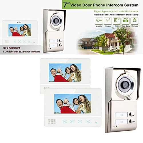 MOUNTAINONE 2 Apartment/Family Video Door Phone Intercom System 1 Doorbell Camera with 2 button 2 Monitor Waterproof SY811WMC12 by MOUNTAINONE (Image #7)