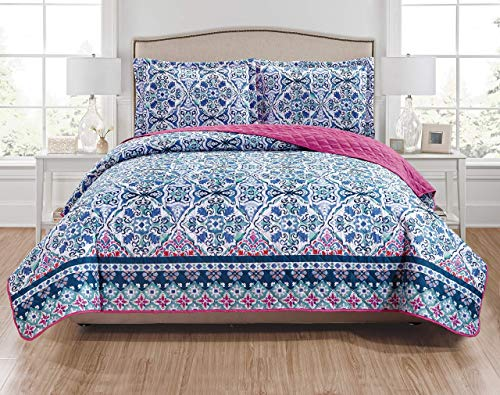 RT Designers Collection Fiona 3-Piece Reversible Quilt Set - King, Navy/Blue/White/Teal/Fuchsia/Coral (Renewed) - Fiona Standard Sham