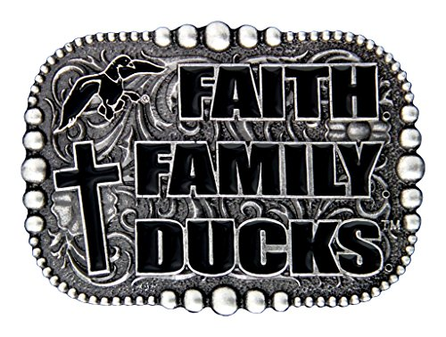 Duck Commander Men's Montana Silversmiths Faith Family Belt Buckle Silver One Size