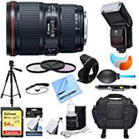 Canon (9518B002) EF 16-35mm F4L IS USM Lens w/ Ultimate Accessory Bundle includes Lens, 64GB Extreme SD Memory Card, Flash, Flash Cover, Tripod, 77mm Filter Kit, Lens Hood, Bag, Cleaning Kit, & More