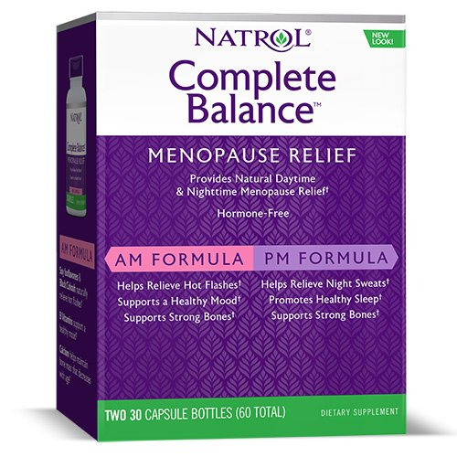 (Natrol Complete Balance A.M./P.M. Capsules for Menopause Relief, Helps Relieve Hot Flashes and Night Sweats, Complete Day and Night Menopause Support, Provides Mood Support, 30 Count (Pack of 2) )
