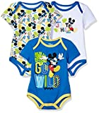 Apparel : Disney Baby Boys' Mickey Mouse 3 Pack Bodysuits, Multi/Blue, 24M