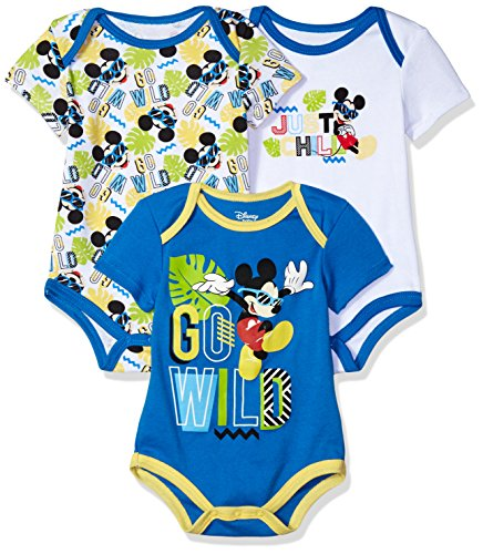 Disney Baby Boys' Mickey Mouse 3 Pack Bodysuits, Multi/Blue 12M