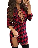 Auxo Women Lace Up Shirt Bandage Dress Plaid Checkered Deep V Neck Long Sleeve Bodycon Dress Red&Black L