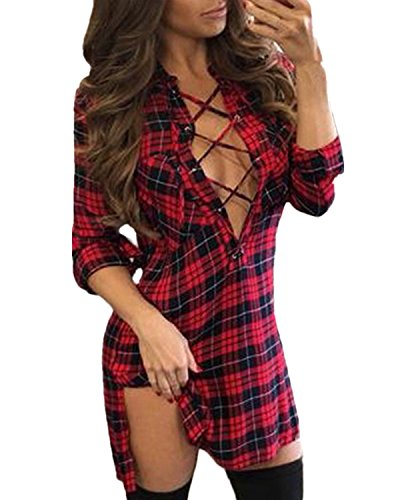 Price comparison product image Auxo Women Lace Up Shirt Bandage Dress Plaid Checkered Deep V Neck Long Sleeve Bodycon Dress Red&Black S