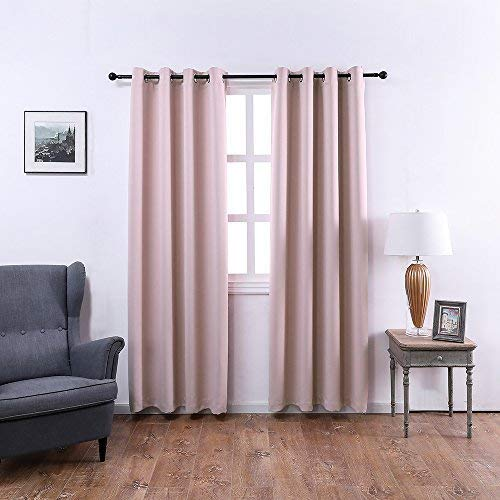 Mangata Casa Bedroom Blackout Curtains Grommets Thermal Window Curtain Drapes for Living Room Darking Drapes 2 panel (Pink,52x84in)