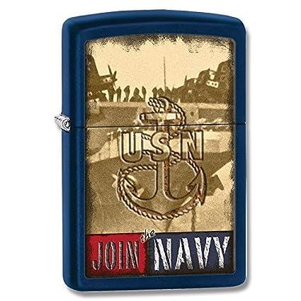 Zippo US Navy Logo Windproof Lighter, Blue Matte