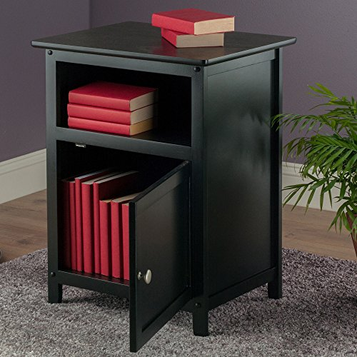 Winsome Wood End Table Night Stand With Door And Shelf