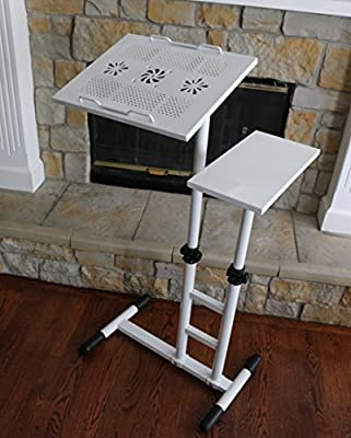 UNICOO - Height Adjustable Laptop Cart Laptop Notebook Desk Over Sofa Bed Table Stand Presentation Cart (White-U03