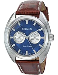 Citizen Mens Eco-Drive Stainless Steel Watch with Day/Date, BU4010-05L