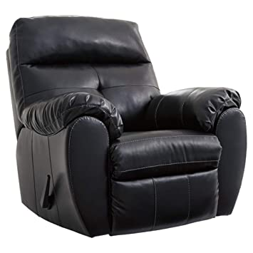 Benchcraft - Bastrop Contemporary Rocker Recliner - Manual Pull-Tab Reclining - Midnight Black