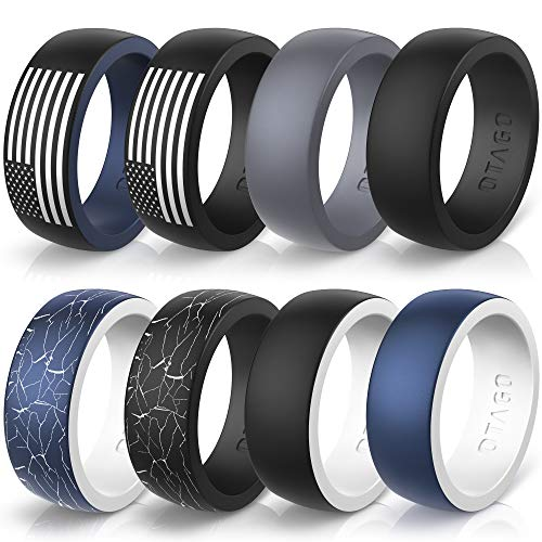 OTAGO Silicone Rings Wedding Bands for Women Men,8 Colorful Rings Soft and Safe for Sports Housework,Comfortable Fit,Fashion,Adorable Wedding Ring Replacement(Size7-14)