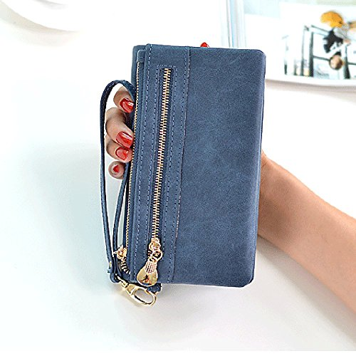 Sale FlapCoin Purse Wristlet for Clearance Flap Flap Classic Blue Women Women Frosted Sunday77 Leather Long Pocket Handbag PU Bag Casual Package Zipper rrYXwq