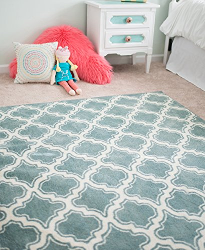 - Mohawk Home Aurora Calabasas Uno Blue Geometric Printed Area Rug, 5'x8', Light Blue