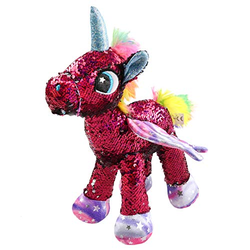 Athoinsu Flippable Sequin Unicorn Stuffed Animal Sparkle Plush Toys with Reversible Glitter Two-Side Sequins Nice Gifts for Kids Friends, Rose Red, - Flip Plush