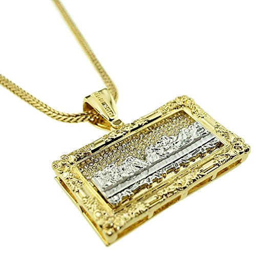 - The Last Supper Iced Rectangular Pendant Chain Gold & Silver Two Tone 36
