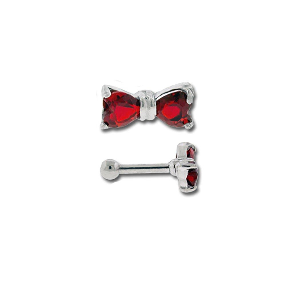 Gemstone Bow Cartilage Body Piercing Jewelry Earring Stud
