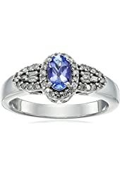 14k White Gold Tanzanite and Diamond Ring (1/4cttw, I-J Color, I2-I3 Clarity), Size 7