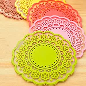 AnnyMart Lovely Cute Sweet Semitransparent Lace Cup Mat Silicone Rubber Coaster for Wine, Glass, Tea,Set of 6 by AnnyMart