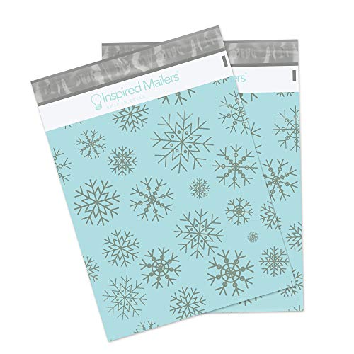 Inspired Mailers Poly Mailers 10x13 Silver Snowflakes – Pack of 100 – Unpadded Shipping Bags